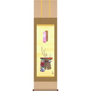 掛軸 掛け軸-立雛/長江桂舟 送料無料掛け軸(尺三 化粧箱 風鎮付き)和室 床の間 初節句 桃 雛祭り 飾り お雛様 女の子 モダン オシャレ 壁掛け 贈物|honakote