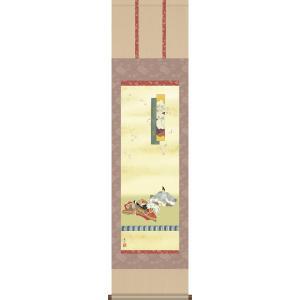 掛軸 掛け軸-歌仙雛/伊藤渓山 送料無料掛け軸(尺三 化粧箱 風鎮付き)和室 床の間 節句画 桃 雛祭り お雛様 女の子 モダン オシャレ 壁掛け 安い 贈物|honakote