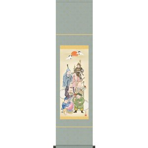 掛軸 掛け軸-七福神/緒方葉水 おめでたい掛軸送料無料(尺幅・化粧箱・風鎮付き)祝賀用ミニ掛軸|honakote