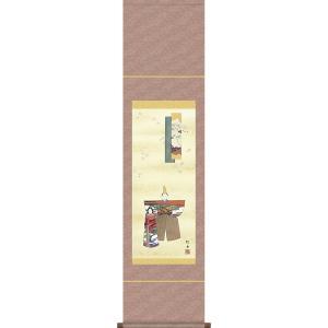 掛軸 掛け軸-立雛/長江桂舟 送料無料掛け軸(尺幅 化粧箱 風鎮付き)和室 床の間 初節句 桃 雛祭り 飾り お雛様 女の子 モダン オシャレ 壁掛け 贈物|honakote