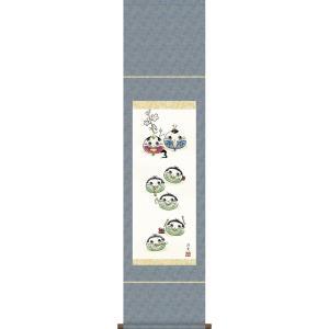掛軸 掛け軸-だるま雛/井川洋光 送料無料掛け軸(尺幅 化粧箱 風鎮付き)和室 床の間 初節句 桃 雛祭り 飾り お雛様 女の子 モダン オシャレ 壁掛け 贈物|honakote