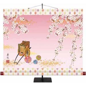 桃の節句掛もの飾り-枝垂れ桜/西尾 香悦(専用飾りスタンド付き)初節句 桃 雛祭り 飾り お雛様 女の子|honakote
