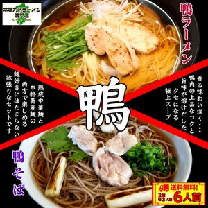 鴨ラーメン 鴨蕎麦 お取り寄せ 鴨南蛮スープ 中華麺3食 & そば麺3食 計2種6人前 セット 一つのスープで2種アレンジ  保存食お試しグルメ|honba-kyusyu