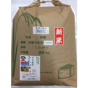 自然農法米 お米 こしひかり 特別栽培米 30年産  「自然の恵み」 食用 玄米 20kg 加賀百万石|hondanojo