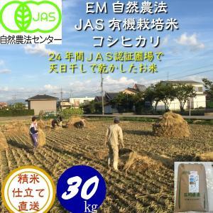 令和3年産 新米 無農薬  有機米 天日干し こしひかり 白米30kg  天地の誉  EM 農法 JAS  オーガニックお米 hondanojo
