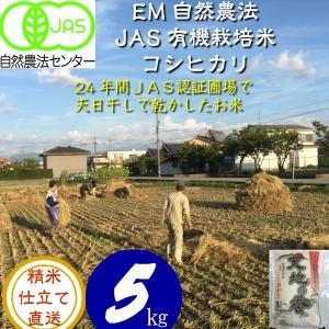 令和3年産 新米 無農薬  有機米 天日干し こしひかり食用玄米 5kg  天地の誉  EM 農法 JAS  オーガニックお米 hondanojo