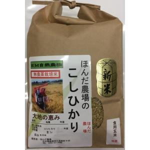 無農薬 お米  自然農法 栽培米 こしひかり 平成30年産  「大地の恵」 食用 玄米 2kg お試し版 (初回送料無料)|hondanojo