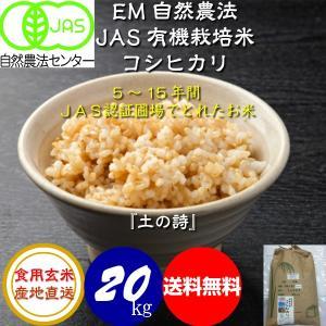 無農薬 お米 自然農法 有機米 JAS認定 コシヒカリ 平成29年産 食用玄米 20kg JAS認定 [土の詩]|hondanojo