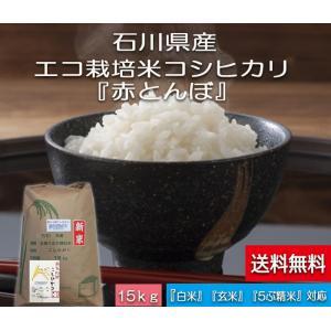加賀百万石 こしひかり エコ栽培米 平成30年産 石川県産 新米  赤とんぼ  白米 15kg|hondanojo