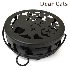 蚊取り線香入れ 蚊取り線香ホルダー 蚊遣り Dear Cats ディアキャッツ  丸型フタ付き 蚊遣り器|honest