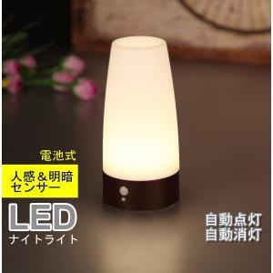 Lifeholder LEDライト 人感&明暗センサーライト ナイトライト 足元ライト 木目調 室内照明 玄関 階段 廊下 電池式 電球色(円形) honey-pot