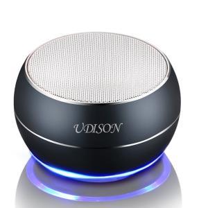 UDISON 【金属強化版】ポータブル Bluetooth スピーカー ミニ ワイヤレス  LEDムードライト 内蔵マイク HD DSP (グレー)|honey-pot