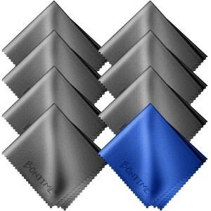 BONTIME クリーニングクロス マイクロファイバー 20cm×18cm (8枚セット/個別包装) グレー&ブルー|honey-pot