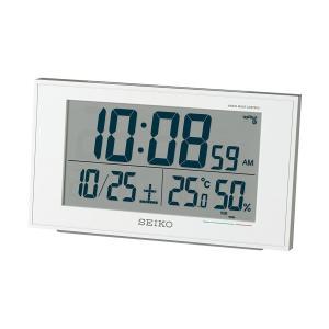 SEIKO セイコー クロック 目覚まし時計 電波 デジタル カレンダー 快適度 温度 湿度 表示 白 パール SQ758W|honey-pot