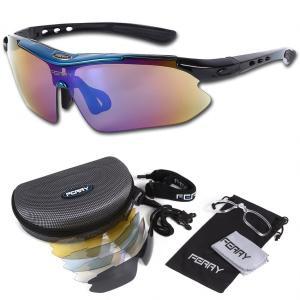 FERRY フェリー 偏光レンズ スポーツサングラス フルセット専用交換レンズ5枚 ユニセックス 7カラー ブルー/ブラック|honey-pot