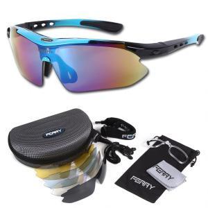FERRY フェリー 偏光レンズ スポーツサングラス フルセット専用交換レンズ5枚 ユニセックス 7カラー ネオンブルー ブラックの商品画像|ナビ