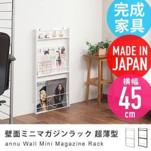 壁面ミニマガジンラック 超薄型 幅45cm annu 壁面収納 ブックラック 本棚 スリム 雑誌収納 ディスプレイラック 日本製の写真