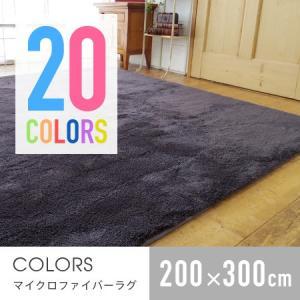 マイクロファイバーラグ COLORS 200×300cm ラグ カーペット EXマイクロファイバーラグマット 洗える 床暖房対応 ホットカーペット対応 滑り止め 無地 honeycomb-room