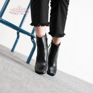 ショートブーツ アウトレット 新作在庫 ブラック 24.0cm サイドゴア レザータッチ ぺたんこ ショートブーツ 2cmヒール|honeyflash