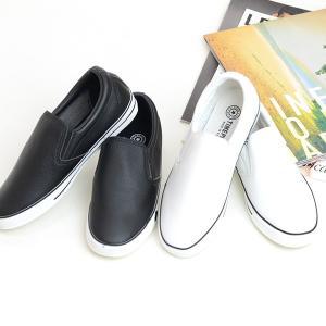 スニーカースリッポン ■サイズ  S ■カラー  ブラック・黒/ホワイト・白 ■素材  合皮レザー ...