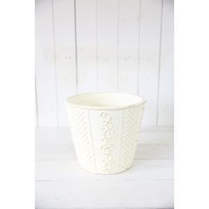 クロスアイヴィサークル(Sサイズ)ホワイト☆オシャレなグラスファイバー製の植木鉢♪|honeymint