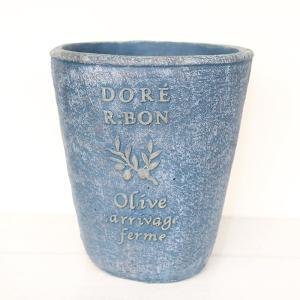植木鉢 グラスファイバー製 おしゃれ ドレオリーブサークルロング(Sサイズ)ブルー|honeymint