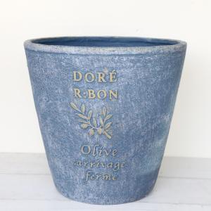 植木鉢 グラスファイバー製 おしゃれ ドレオリーブサークルロング(Mサイズ)ブルー|honeymint