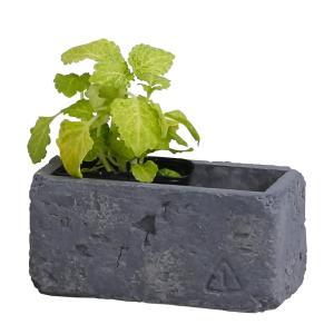 植木鉢 レンガ風 かわいい プレゼント ブリック・レクトポット(Lサイズ)グレー|honeymint