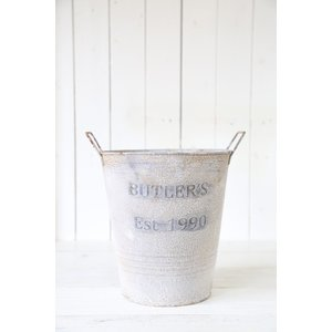 ブリキ 植木鉢 ポット ジャンク おしゃれ ウェザービトゥンロング(Mサイズ)ホワイト honeymint