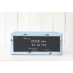 木製 植木鉢 小物入れ おしゃれ ブルーボードウッドワイドボックス(Mサイズ)|honeymint
