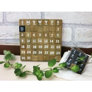 【ウッドマグネットカレンダーS】可愛い万年カレンダー 木の万年カレンダーマグネット付 ナチュラル雑貨 ナチュラルインテリア
