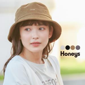 帽子 ハット バケットハット コーデュロイ ロゴ刺繍  おしゃれ レディース 秋 冬 Honeys ...