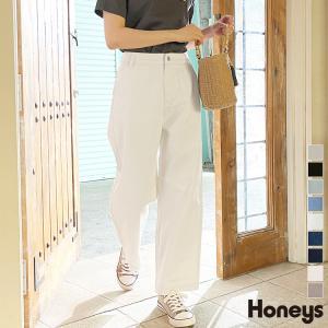 パンツ ストレートパンツ コットン ウエストゴム カジュアル シンプル レディース Honeys ハニーズ デニムストレートパンツ ハニーズ PayPayモール店