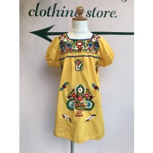 de3e8b6660bb1 メキシカンワンピース ヴィンテージ 古着 刺繍 お花 メキシコ メキシカンドレス イエロー 黄色 民族 ビンテージ 子供服 ワンピース