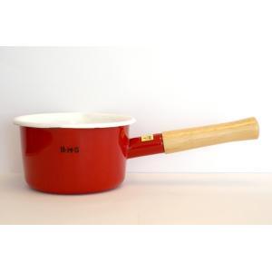 富士ホーローBMSシンプル 14cm ミルクパン   レッド|honeyware
