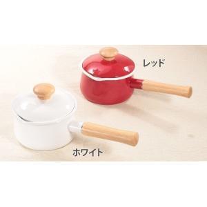 【安心のメーカー直販】送料無料 片手鍋 富士ホーロー15cmミルクパン  ホーロー鍋  離乳食 シンプル 白 赤|honeyware