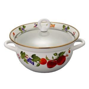 ホーロー 琺瑯 ほうろう 送料無料 両手鍋 おしゃれ 富士ホーロー ハニーウェア 23cm 多機能鍋 すのこ付 安心のメーカ直販|honeyware