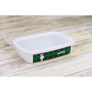 ミッフィー &チェック浅型角容器M|honeyware