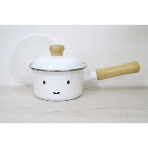 安心のメーカー直販 片手鍋 富士ホーロー12cm ミルクパン 片手鍋 ホーロー鍋 直火 シンプル 白 ミッフィー おかお|honeyware