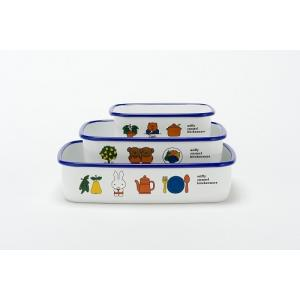 ミッフィー 浅型 角容器 3点セット|honeyware