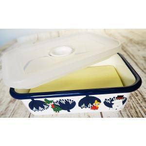【安心のメーカー直販】保存容器 キッチン用品 ホーロー容器 グッズ 富士ホーロー ハニーウェア キッチン雑貨 ムーミン&フラワーバターケース200g|honeyware
