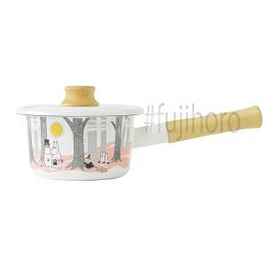 富士ホーロー ほうろう 琺瑯 片手鍋 富士ホーロー フタ付き 14cm ムーミンインザフォレスト ミルクパン ホーロー シンプル 安心のメーカー直販|honeyware