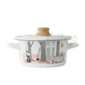 ホーロー ハニーウェア キャセロール 琺瑯 ほうろう 片手鍋 富士ホーロー 16cm  量手鍋 IH対応 シンプルムーミンインザフォレスト 安心のメーカー直販|honeyware