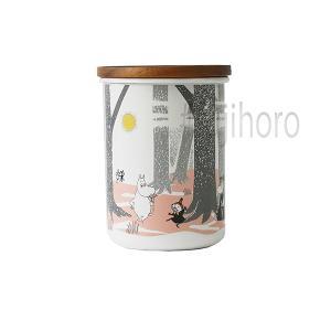 ホーロー 琺瑯 ほうろう MOOMIN 富士ホーロー ムーミンインザフォレスト 9cmキャニスターL ホワイト キッチン用品 グッズ 収納 安心のメーカー直販|honeyware