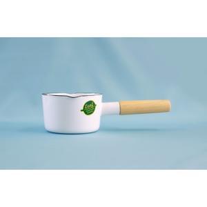 【30%オフ!!】汚れ落ちしやすいホーロー製だから 純白ミルクパンでも普段使いに出来ちゃいます☆ ホーロー 琺瑯 ミルクパン 12cm ホワイトリーフ White Leaf|honeyware