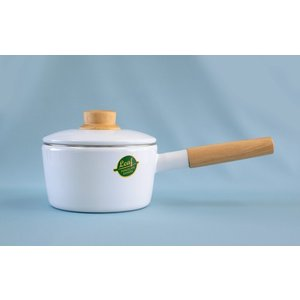 ホーロー 琺瑯 片手鍋 16cm ホワイトリーフ White Leaf 富士ホーロー 北欧風 おしゃれ かわいい|honeyware