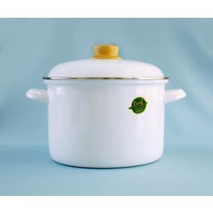 純白なのにカレーを作っても汚れはつるんと落とせます☆ ホーロー 琺瑯 両手鍋 深鍋 22cm ホワイトリーフ White Leaf 富士ホーロー 北欧風|honeyware