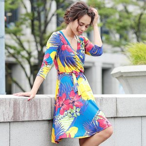 LAワンピース インポート ワンピース ウエストリボン レディース S M L ブルー 花柄 トロピカル|hongkongmadam