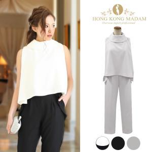 パーティードレス パンツドレス セットアップ 結婚式 M L ブラック グレー オフホワイト 大きいサイズ|hongkongmadam