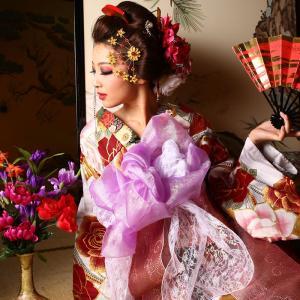浴衣 花魁 レディース 3点セット (浴衣/帯/下駄) 赤 薔薇 (レッド/薔薇)